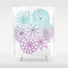 Equanimity / Flowers / Pink Blue Shower Curtain
