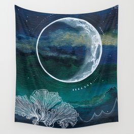 Crescent Moon Mixed Media Painting Wall Tapestry
