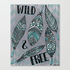 Wild & Free Feathers. Teal & Grey Edition Canvas Print