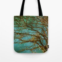 lights Tote Bags featuring Magical by The Last Sparrow