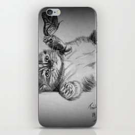 Kitten catching the butterfly iPhone Skin