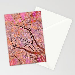 Interconnected Paths (coral-orange-persimmon) Stationery Cards