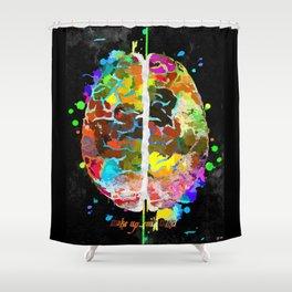 Human Brain Black Shower Curtain