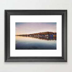 Dawn at the lake Framed Art Print