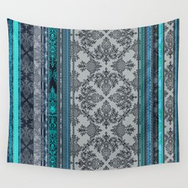 Teal, Aqua & Grey Vintage Bohemian Wallpaper Stripes Wall Tapestry