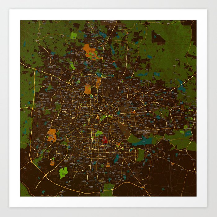 Bangalore Old Green Map Art Print By Drawspots