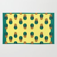 pineapples Area & Throw Rugs featuring PINEAPPLES by Heaven7