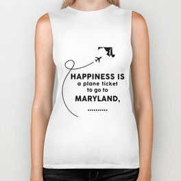 happiness is a plan ticket dad Biker Tank