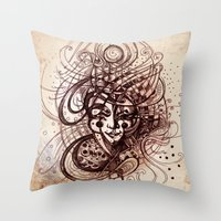 joker Throw Pillows featuring Joker by Irina Vinnik
