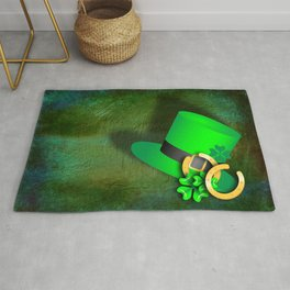 Symbols of luck on green textured background Rug