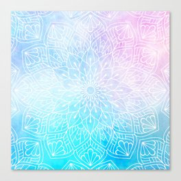 Watercolor White Mandala Illustration Pattern Canvas Print