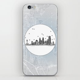 Seattle, Washington City Skyline Illustration Drawing iPhone Skin