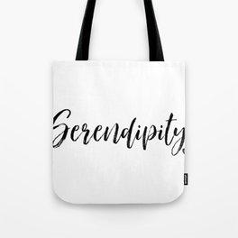Serendipity in Black and White #arlenecarley #simplewords Tote Bag