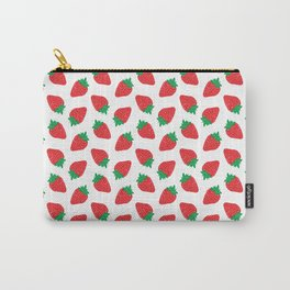 Cream Strawberries Pattern Carry-All Pouch