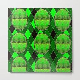 Fleur De Lis Holiday Harlequin FDL Green Pattern Metal Print