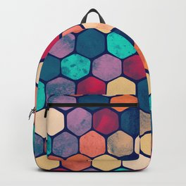Textured Hexagon Pattern Backpack