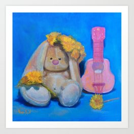 Flower Power, art print, teddy bear art, music teacher, music wall art, bunny girl, gift for her Art Print