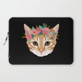 Orange Tabby cat breed with floral crown cute cat gifts cat lady must haves Laptop Sleeve