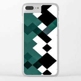 Emerald Green White Black Geometrical Pattern Clear iPhone Case