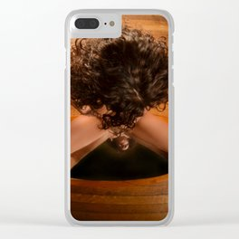 6171-KD Nude Art Model Sitting On Mirror Looking Down Clear iPhone Case