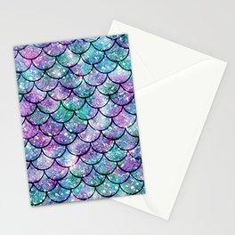 Mermaid Pattern - Aqua & Purple Glitter Texture Stationery Cards