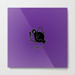 AQUARIUS Horoscope Water Bearer Design - Purple Metal Print