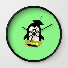 Penguin nerd from San Diego T-Shirt for all Ages Wall Clock