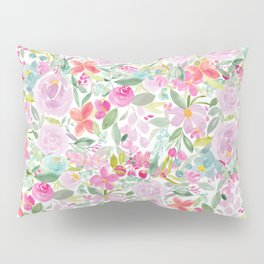 Modern pink purple loose floral watercolor painting Pillow Sham