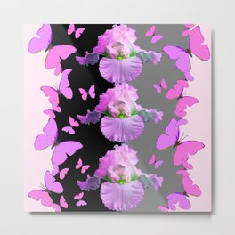 LILAC-PINK BUTTERFLIES & PASTEL IRIS MODERN ART Metal Print