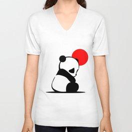 Shy Panda in the Red Sun Unisex V-Neck