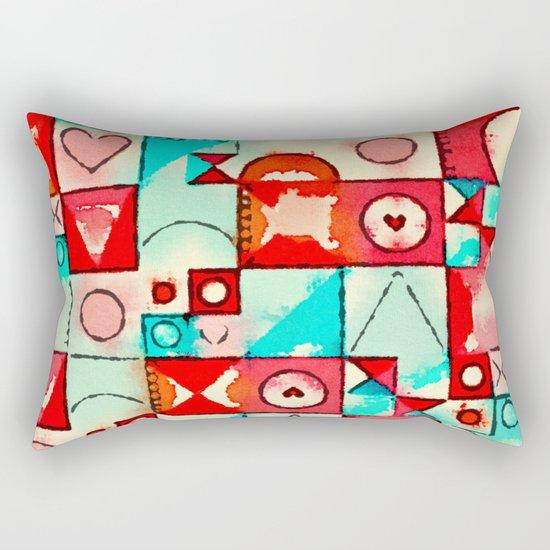 Watercolor Hearts Geometry Rectangular Pillow