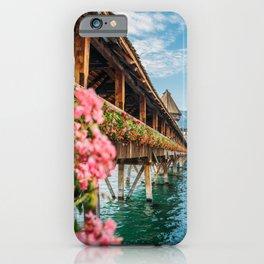 Lucerne Kapellbrücke - Switzerland Flowers and Lake iPhone Case