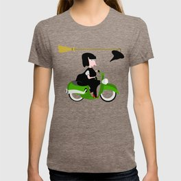 Witch Riding a Green Moped T-shirt