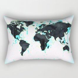 World Map Turquoise Paint and Black Ink Rectangular Pillow