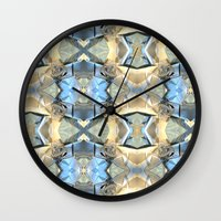 bands Wall Clocks featuring Blue And Beige Bands by Phil Perkins