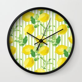 The Fresh Striped Lemon Vector Seamless Pattern Wall Clock