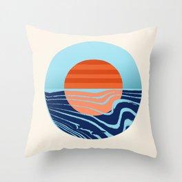 Sweetness - retro minimal 70s style throwback sunset sunrise ocean socal art Throw Pillow