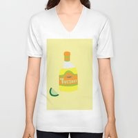 tequila V-neck T-shirts featuring Tequila Tuesdays by Tyler Pentland