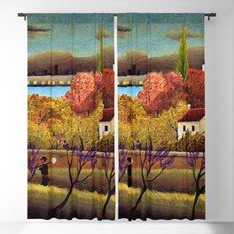 Classical Masterpiece 'Landscape with Farmer' by Henri Rousseau Blackout Curtain