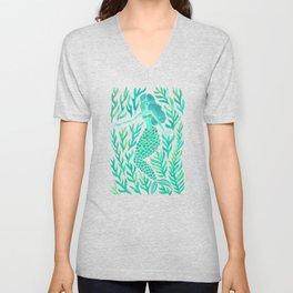 Kelp Forest Mermaid – Mint Palette Unisex V-Neck