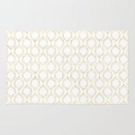 White And Gold Moroccan Chic Pattern Rug
