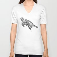 sea turtle V-neck T-shirts featuring Sea Turtle by Laura Hines