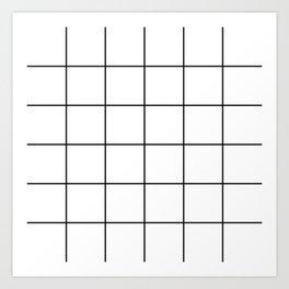 black grid on white background Art Print