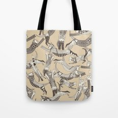 cat party beige natural Tote Bag
