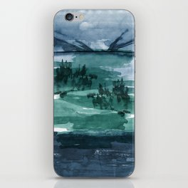 Blue and green landscape iPhone Skin