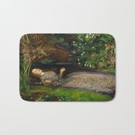 Ophelia from Hamlet Oil Painting by Sir John Everett Millais Bath Mat