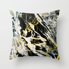 Gold And Marble Pattern Throw Pillow