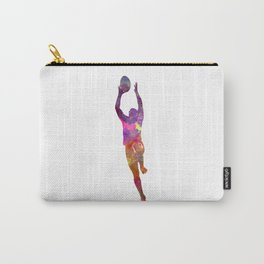 Rugby man player 03 in watercolor Carry-All Pouch