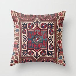Cartouche Star // 19th Century Colorful Red Blue Western Santa Fe Cowboy Style Ornate Accent Pattern Throw Pillow