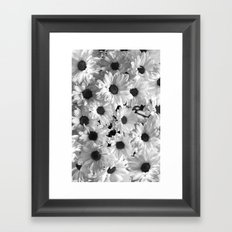 Daisy Chaos in Black and White Framed Art Print